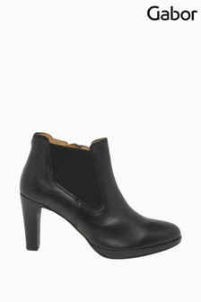 Gabor Year Black Leather Dress Ankle Boots
