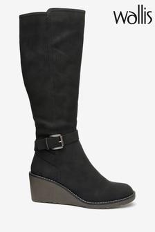 Wallis Helena Black Wedge Buckle High Leg Boots