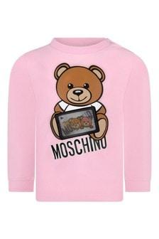 Moschino Baby Girls Pink Long Sleeves T-Shirt