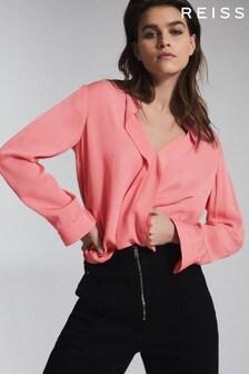 Reiss Pink Rochelle Pintuck Detailed Blouse