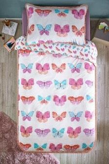 Butterfly Tassel Trim Duvet Cover and Pillowcase Set