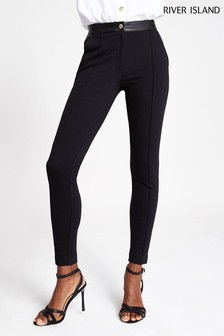 River Island PU Ponte Straight Cigarette Ana Trousers