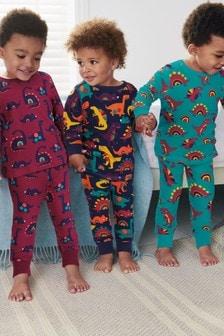 3 Pack Dinosaur Snuggle Pyjamas (9mths-8yrs)