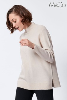 M&Co Pink Low Turtle Neck Front Seam Jumper