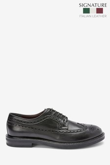 Signature Leather Wing Cap Brogue Shoes