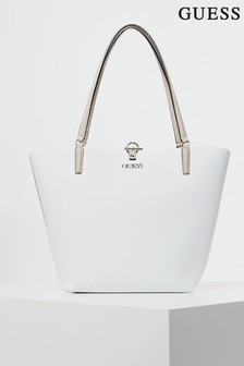 Guess White Alby Tote