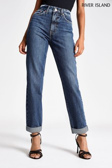 River Island Dark Auth Mom Tooting Jeans