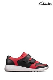 Clarks Black Combi Scape Spirit K Velcro Shoes