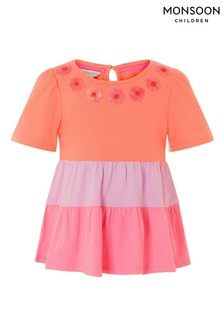 Monsoon Pink Colourblock Tiered Top
