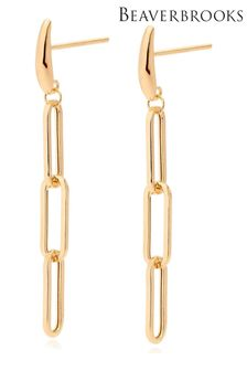 Beaverbrooks 9ct Gold Link Drop Earrings