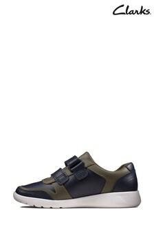 Clarks Navy Combi Scape Spirit K Velcro Shoes