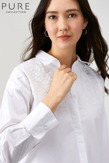 Pure Collection White Cotton Embellished Shirt