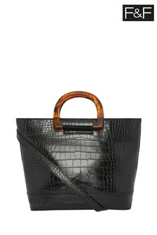 F&F Torte Handle Croc Effect Grab Bag