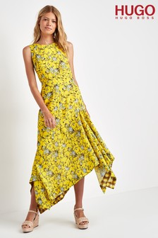 HUGO Yellow Kilami Flower Print Dress