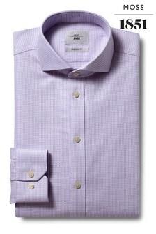 Moss 1851 Tailored Fit Lilac Single Cuff Zero-Iron Shirt