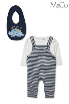 M&Co Blue Cutiesaurus Dungarees And Bib