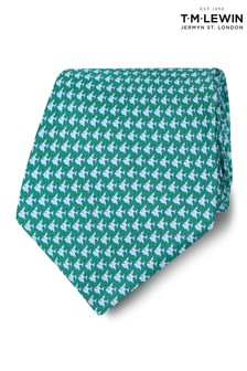 T.M. Lewin Made In Italy Wide Green And Blue Fish Silk Tie