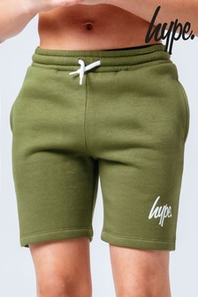 Hype. Khaki Mini Script Sweat Shorts