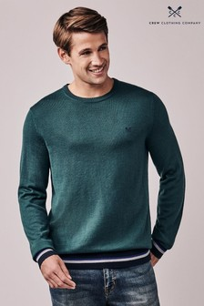 Crew Clothing Green Beane Crew Neck Jumper