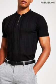 River Island Black Zip Neck Polo