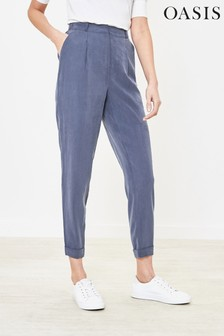 Oasis Blue Turn-Up Peg Trousers