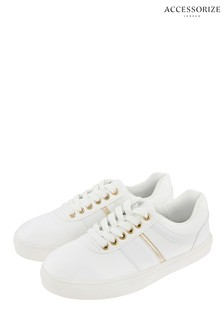 Accessorize White Casual Trainers With Gold Trim