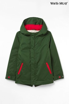 White Stuff Green Puddle Parka Coat