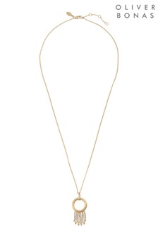 Oliver Bonas Zina Loop & Multi Bead Drop Pendant Necklace