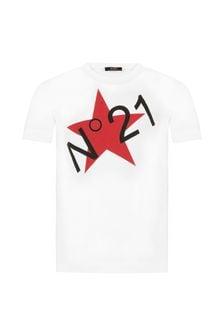 N°21 Boys White Cotton T-Shirt