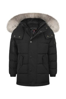 Kids Black Padded Jacket With Grey Hood
