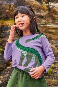 Boden Purple Frill Appliqué T-Shirt