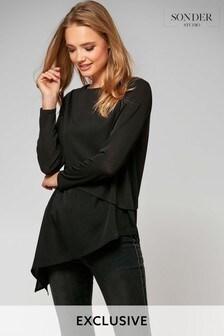 Sonder Black Asymmetric Hem Woven Mix Jersey Shirt