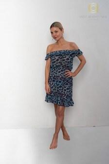 West Seventy Nine Purple Animal Print Glisten Off The Shoulder Dress