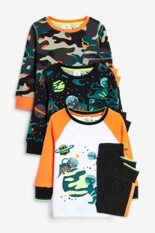 3 Pack Space Snuggle Pyjamas (9mths-12yrs)