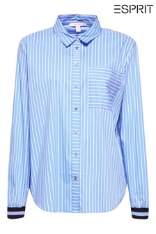Esprit Blue Striped Blouse With Cuff Detail