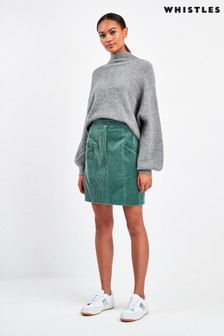 Whistles Sage Green Billie Cord Skirt