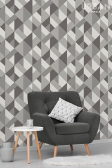 Urban Walls Grey Structured Geo Wallpaper