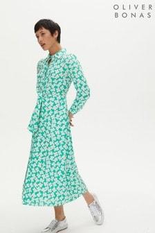 Oliver Bonas Green & White Floral Tie Front Midi Dress