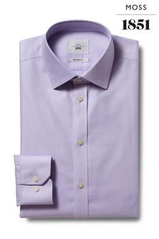 Moss 1851 Tailored Fit Lilac Single Cuff Zero-Iron Shirt