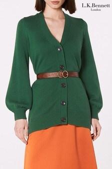 L.K. Bennett Green Rosa Merino Wool Cardigan