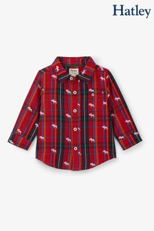 Hatley Red Moose On Plaid Baby Button Down Shirt