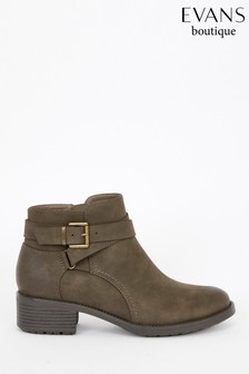 Evans Extra Wide Fit Brown Strap And Buckle Ankle Boots