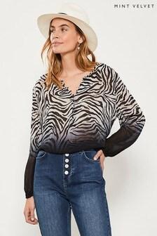 Mint Velvet Animal Naomi Print Dip Dye Blouson T-Shirt