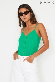Warehouse Green Textured Button Cami Top