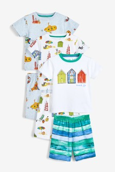 3 Pack Seaside Print Short Pyjamas (9mths-8yrs)
