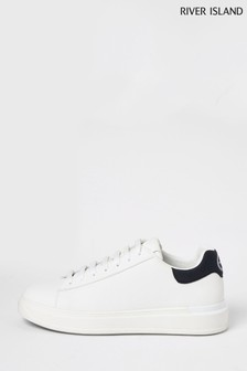River Island White Wedge Sole Text Trainers