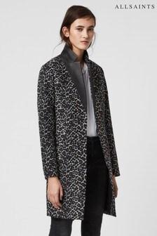 AllSaints Leopard Leni Wool Overcoat