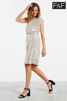 F&F Silver One Shoulder Sequin Dress