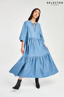 Selected Femme Denim Chambray Joy Midi Dress