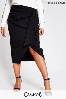 River Island Black Self Tie Wrap Skirt
